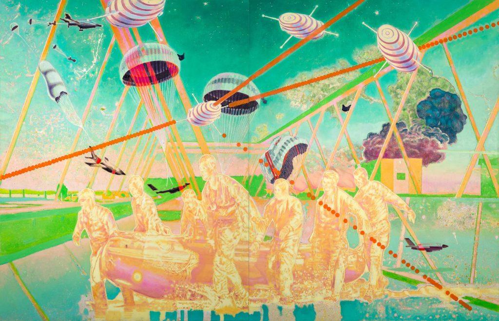Uroš Weinberger, The Projectory Lab, 2021, olje na platnu, 200,5 x 312 cm, foto Borut Peterlin